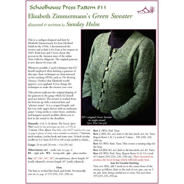 Elizabeth Zimmermann's Green Sweater - SPP13