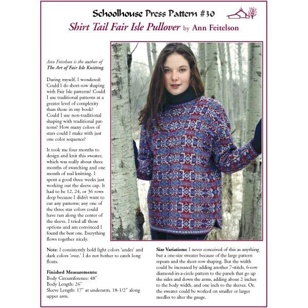 Schoolhouse Press - Shirt Tail Fair Isle Pullover - SPP30 ...