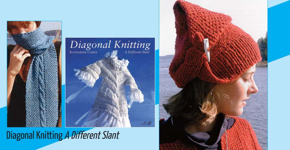 Image of book cover with diagonally knitted orange hat, blue scarf