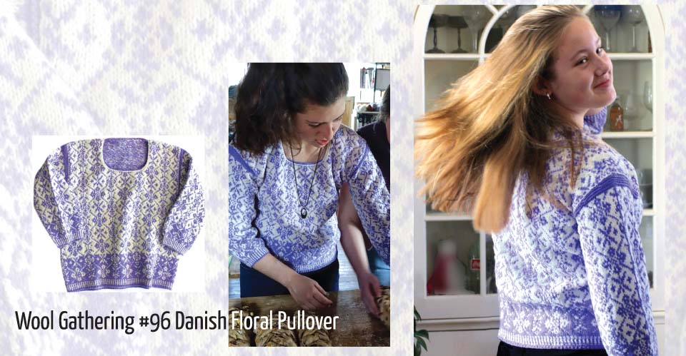 Danish Floral sweater in pale iris and cream
