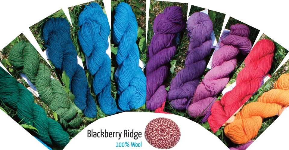 colorful skeins of blackberry ridge wool