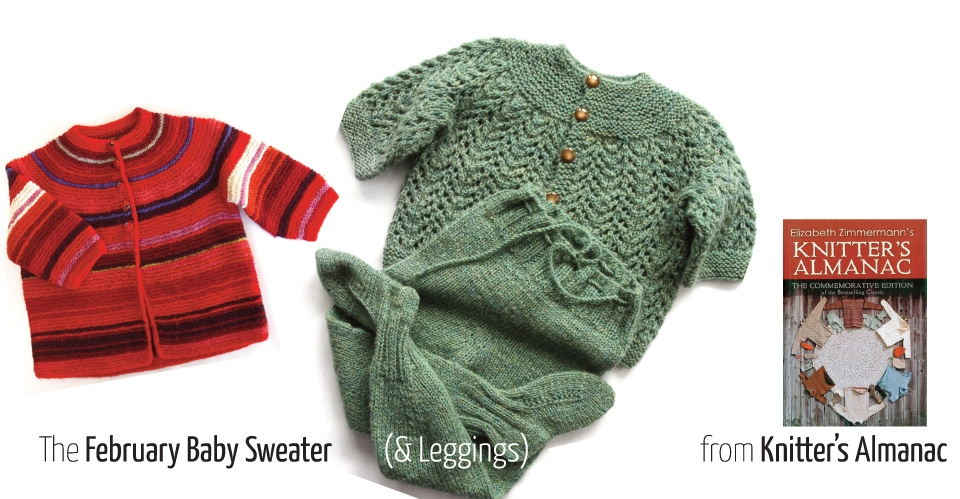 red and white striped sweater and green lace sweater and leggings called February Baby Sweater in Knitter's Almanac