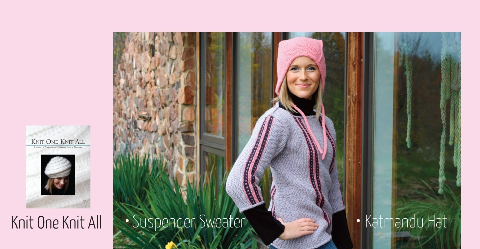 picture of a woman in a pink katmandu style hat and a pink and purple striped suspender sweater from the book Knit One Knit All