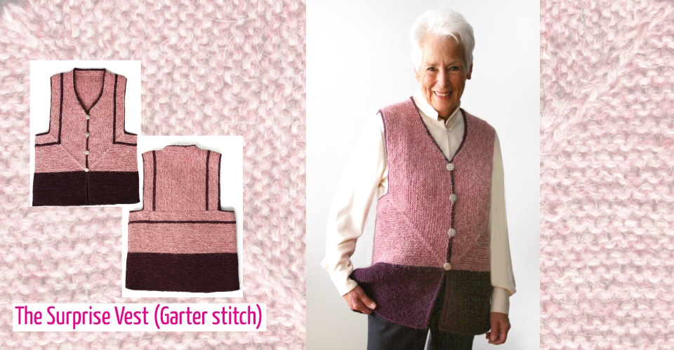 pink garter stitch surprise vest in Unspun Icelandic