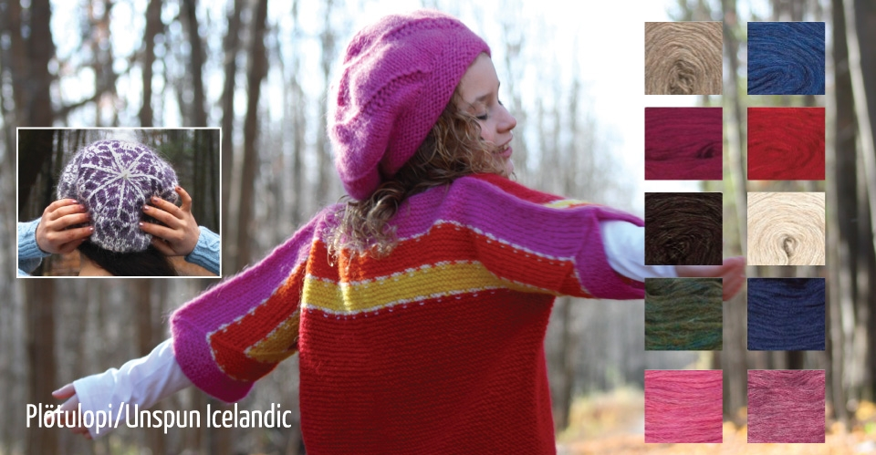 girl in surprise jacket with different colors of unspun icelandic--pinks, oranges, blues