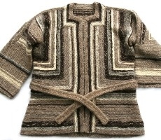 handknitted jacket with belt, shaded and striped in browns and grays