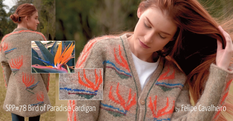 model with long red hair wearing knitted coat with birds of paradise flowers
