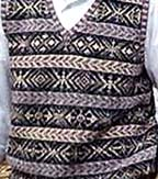 picture of fair isle vest in purples, creams, and yellows
