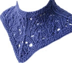 lace cowl that comes to a point in front, in medium blue