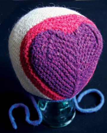 Knitted heart bonnet