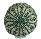 tam in grey and green pattern to show jogless knitting