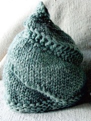 spiraling cone, snail hat in unspun green