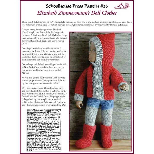 sasha doll in knitted clothing in knitting pattern