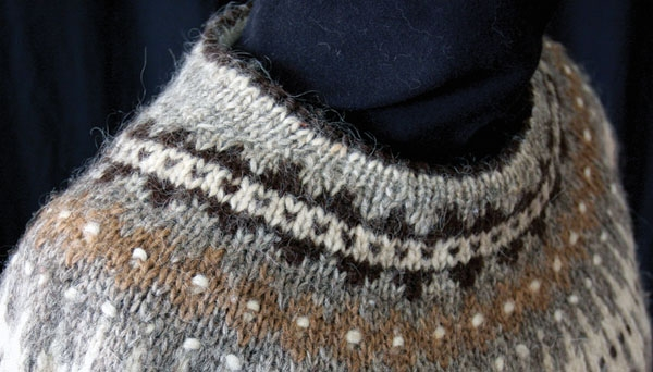 yoke in yellow, cream, black knit in unspun icelandic wool