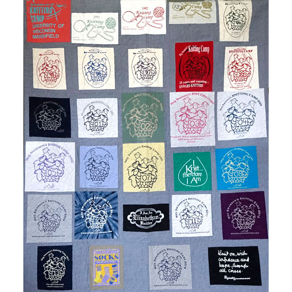 picture of a quilt made from Knitting Camp Tshirts