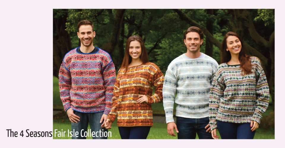 Four Fair Isle Sweaters for different seasons
