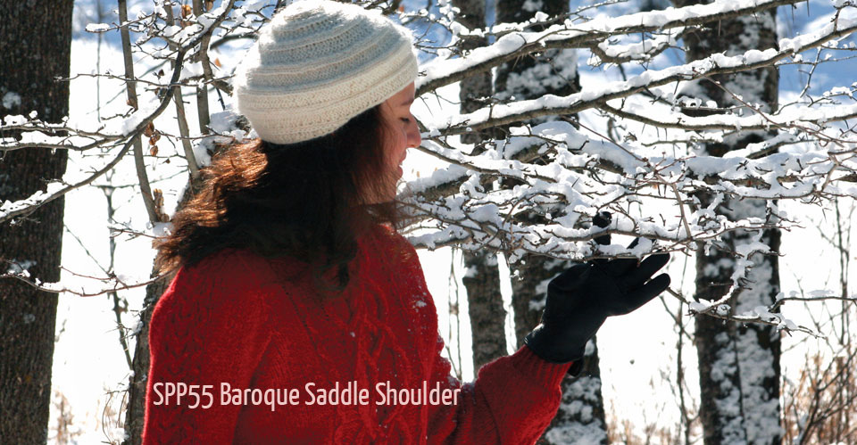 red cabled pullover in winter scene