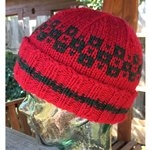 red hat with black color patterns around top third