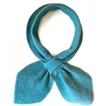 blue criss cross style scarf, each side overlaps