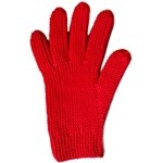 bright red gloves for making with two needles