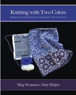 book cover of knitting with two colors in purples