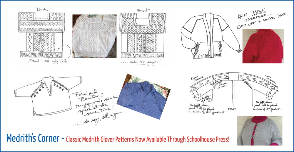 drawings of medrith glover's classic sweater patterns