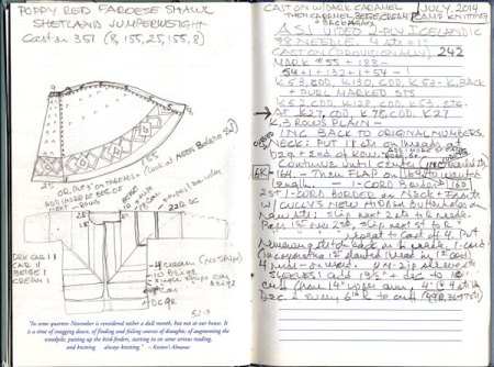 inside of Meg Swansen's knitting journal with drawing and notes
