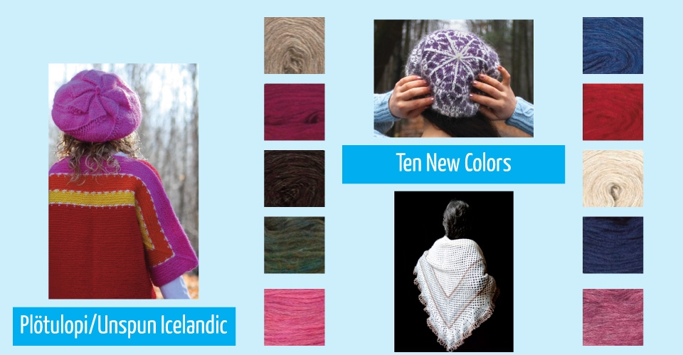 new colors of unspun icelandic and tams in pink and purple
