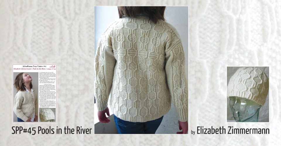 cream cabled sweater with different motifs in each pool